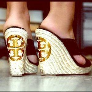 Tory Burch Kristen Black Espadrille Wedge Sandals